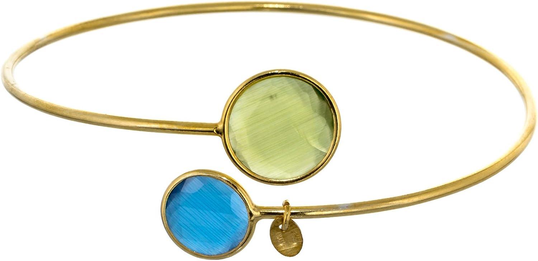Córdoba Jewels | Pulsera en Plata de Ley 925 bañado en Oro con diseño Duo Esfera Esmeralda Montana
