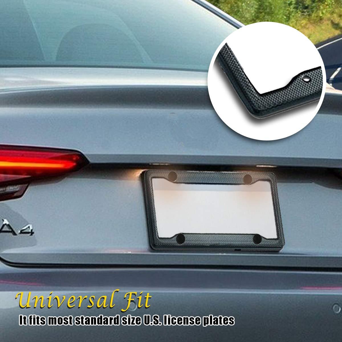 VaygWay Carbon Fiber Plastic License Plate Frame 2-Pack Black Standard Fit License Plate Frame