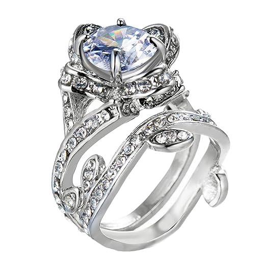 Amazon Shusuen Jewelry Birthday Gift For Girlfriends Womens Vintage Beautiful White Diamond Silver Engagement Wedding Band Ring Clothing
