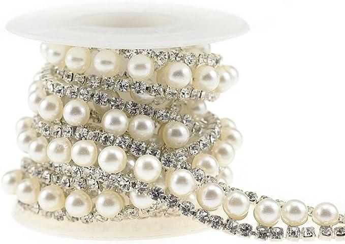 SHINYTIME Rhinestone Trims 1 Yard 4 Rows Silver Applique Banding Diamond Close Chain Rhinestones for Crafts Clothes Wedding Embellishments