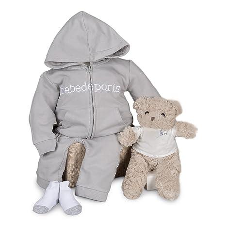 Canastilla regalo bebé en caja Happy Sport con chandal y Osito BebeDeParis-Gris- Talla 6 meses- 100% algodón-caja regalo recién nacido