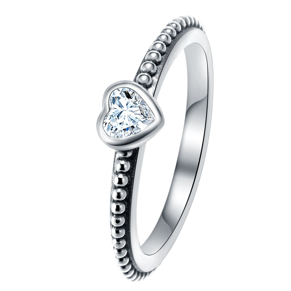 Changeable Solitaire Promise Rings - White Crystals, Solid 925 Sterling Silver # Size 6 (Soul Heart) by Changeable (Image #1)