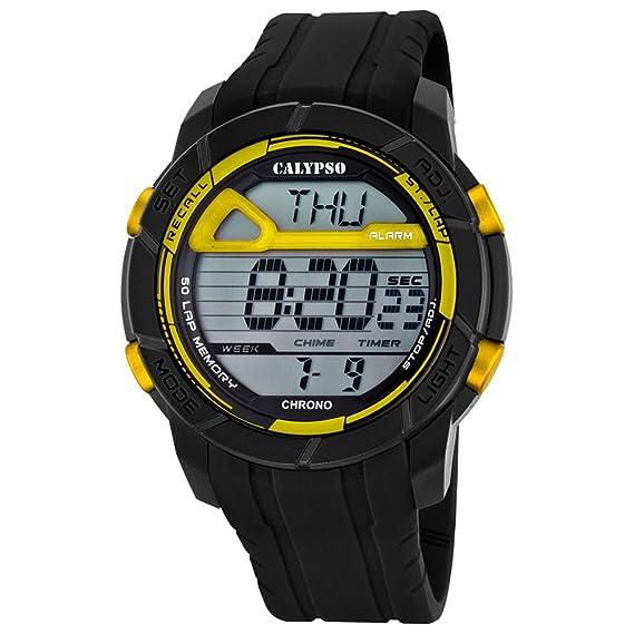 Calypso hombre-reloj deporte digital PU-pulsera negro esfera de colour negro y amarillo cuarzo-reloj UK5697/5: Calypso: Amazon.es: Relojes