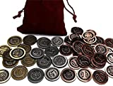 Top Shelf Gamer Gaming Metal Coins: Modern / Atomic Age Set in Burgundy Bag (set of 50)