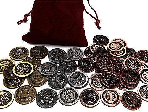 Top Shelf Gamer Gaming Metal Coins: Modern / Atomic Age Set in Burgundy Bag (set of 50) by Top Shelf Gamer
