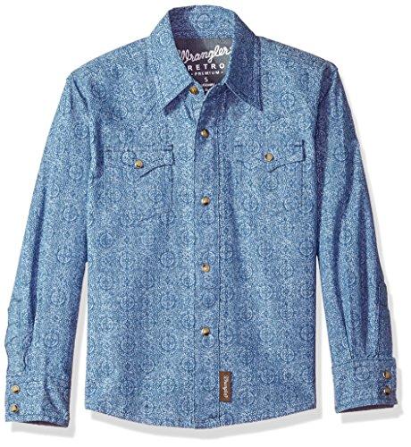 Wrangler Little Boys' Retro Long Sleeve Two Flap Pockets Snap Front Shirt, Denim Blue, (Button Flap Pocket Jean)