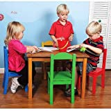 Wood Table and Chair Set, Multiple Colors, 4 Chairs, Made from Hardwood and Engineered Wood, Kid's Playing Set, Children Furniture, Bedroom, Playroom,BONUS e-book (Natural/Primary)