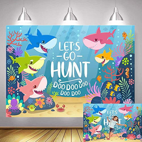 Portrait Dress Party (Fanghui 5x3 FT Vinyl Shark Baby Family Photography Backdrop Underwater World Let's Go Hunt Photo Background Baby Shower Birthday Party Banner Decoration Studio Booth Props Supplies)
