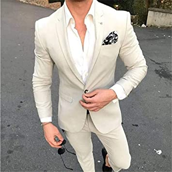 GFRBJK Custom Made Summer Slim Fit Beige Men Suit Tuxedos ...