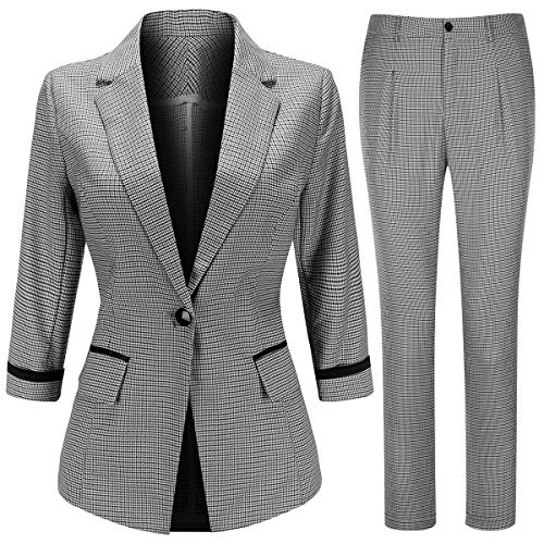 Women's Two Piece Plaid Suit Set 3/4 Sleeve One Button Blazer Jacket and Pants Light Gray ()