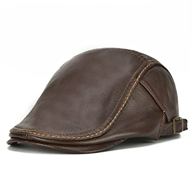 a567cdcf98e6f Men's Flat Cap Beret Hunting Real Cowhide Leather Driver Cap Newsboy Hat  Brown at Amazon Men's Clothing store:
