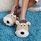 Aromahome Fuzzy Feet Slippers Tan Dog
