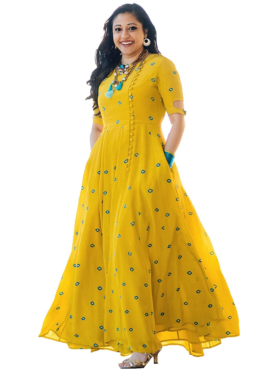 Arayna Women's Long Embroidered Rayon Party Wear Kurti, Yellow