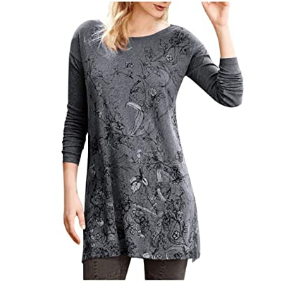 Sttech1 Womens Long Sleeve Round Collar Pullover Blouse Flower Printed Loose Tunic Sweatshirt Dresses: Clothing