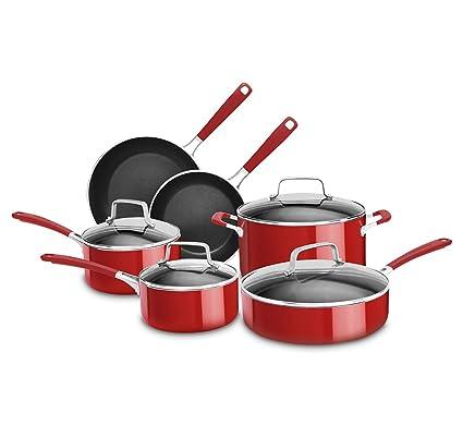 amazon com kitchenaid kcas10er aluminum nonstick 10 piece set rh amazon com