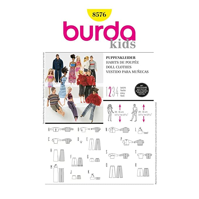 Amazon.com: Burda b8576 Matching Doll Clothes Sewing Pattern 19 x 13 cm: Arts, Crafts & Sewing
