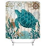 Yastouay Bathroom Shower Curtain Sea Turtle Ocean