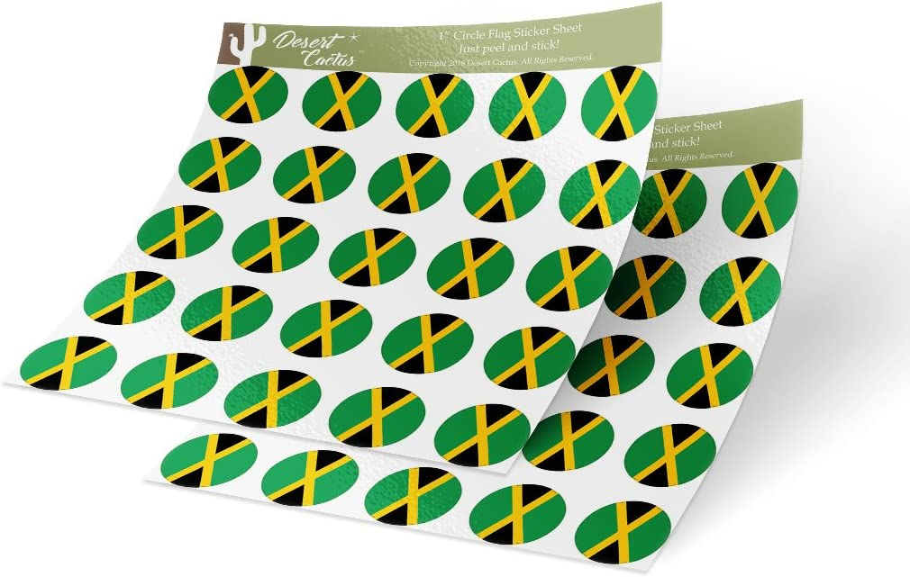 Jamaica Country Flag Sticker Vinyl Decal 1 Inch Round Two Sheets 50 Total Pieces Kids Logo Scrapbook Car Laptop Jamaican C