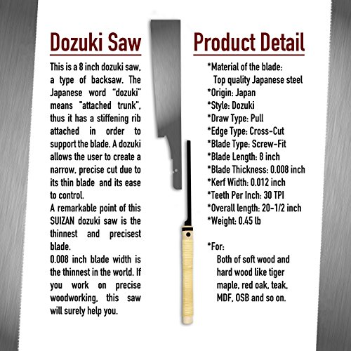 SUIZAN Japanese Hand Saw 8 inch Ultra fine cut Dozuki (Dovetail) 0.2mm Blade Pull Saw for Woodworking,Furnituredesign,Musical instrument production by SUIZAN (Image #2)