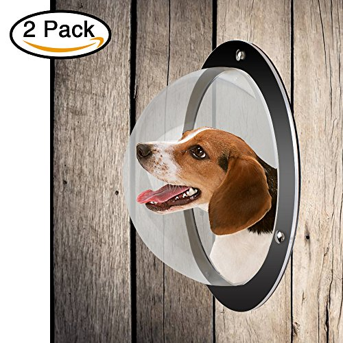 Lemonda 2Pack Durable Acrylic Dome Pet Dog Fence Peek Window For Cats Dogs Prevent Fence Jumping  Reduce Barking   Digging Including All Necessary Bolts   Nuts