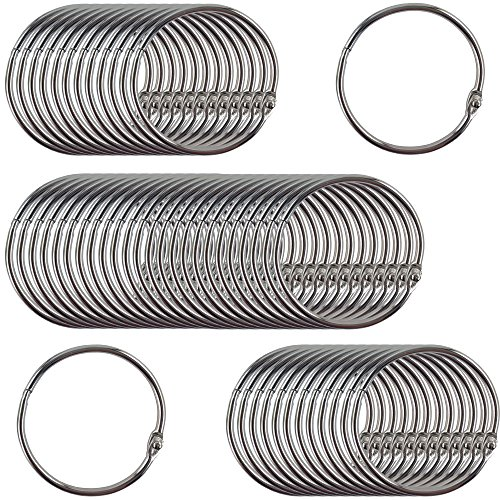 Clipco Book Rings Large 2-Inch Nickel Plated (50-Pack) Nickel Metal Rings