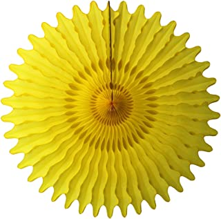product image for 3-Pack 26 Inch Extra-Large Honeycomb Tissue Paper Party Fan Decoration (Yellow)