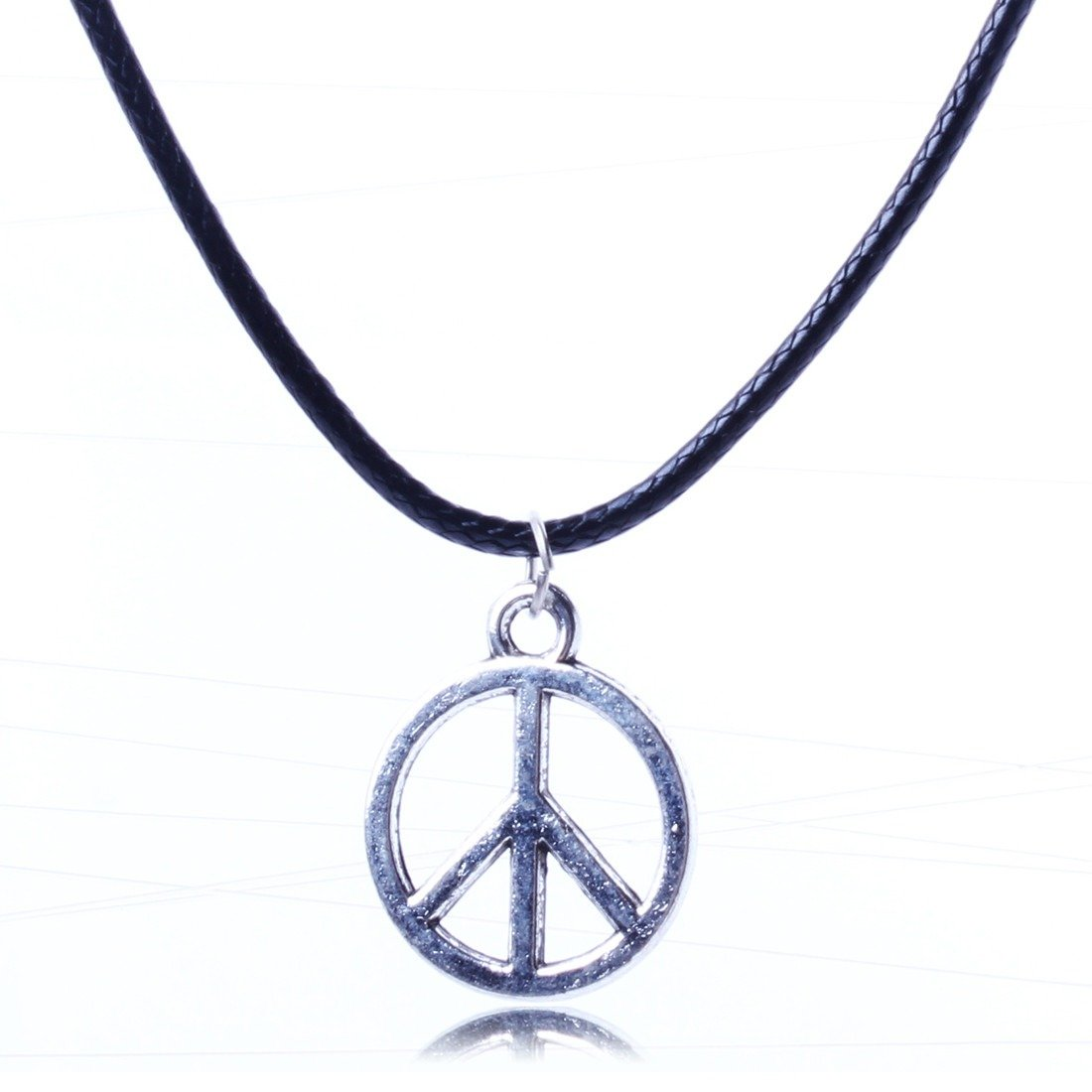 Qiyun Dangle Silver Peace Sign Slide Charm Pendant Black Leather Rope Necklace Argent Glissie re Signe Paix Corde Cuir Noir Collier W005N1456