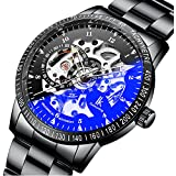 Gute Casual Mens Black Steel Skeleton Automatic Mechanical Coated Glass Wristwatch (Black-Silver)