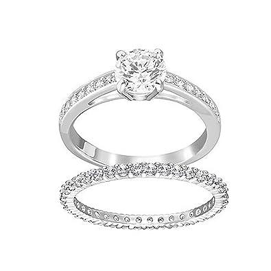 32a6337cb5fa Amazon.com  Swarovski White Rhodium Plated I Do Ring Set - Size 7 ...