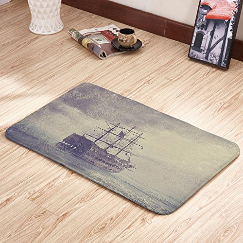 Moslion Doormats Nautical Old Pirate Tan Plum Rectangular Doormat Decorative Indoor/Outdoor Cover Rug 18 X 31 Inch