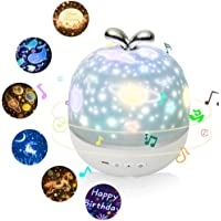 ZYEZI Projector Night Light with Music Box and 6 Projection Films, 360 Rotation Starry Sky Projector Lamp for Kids Girls Sleep Bedroom Decor