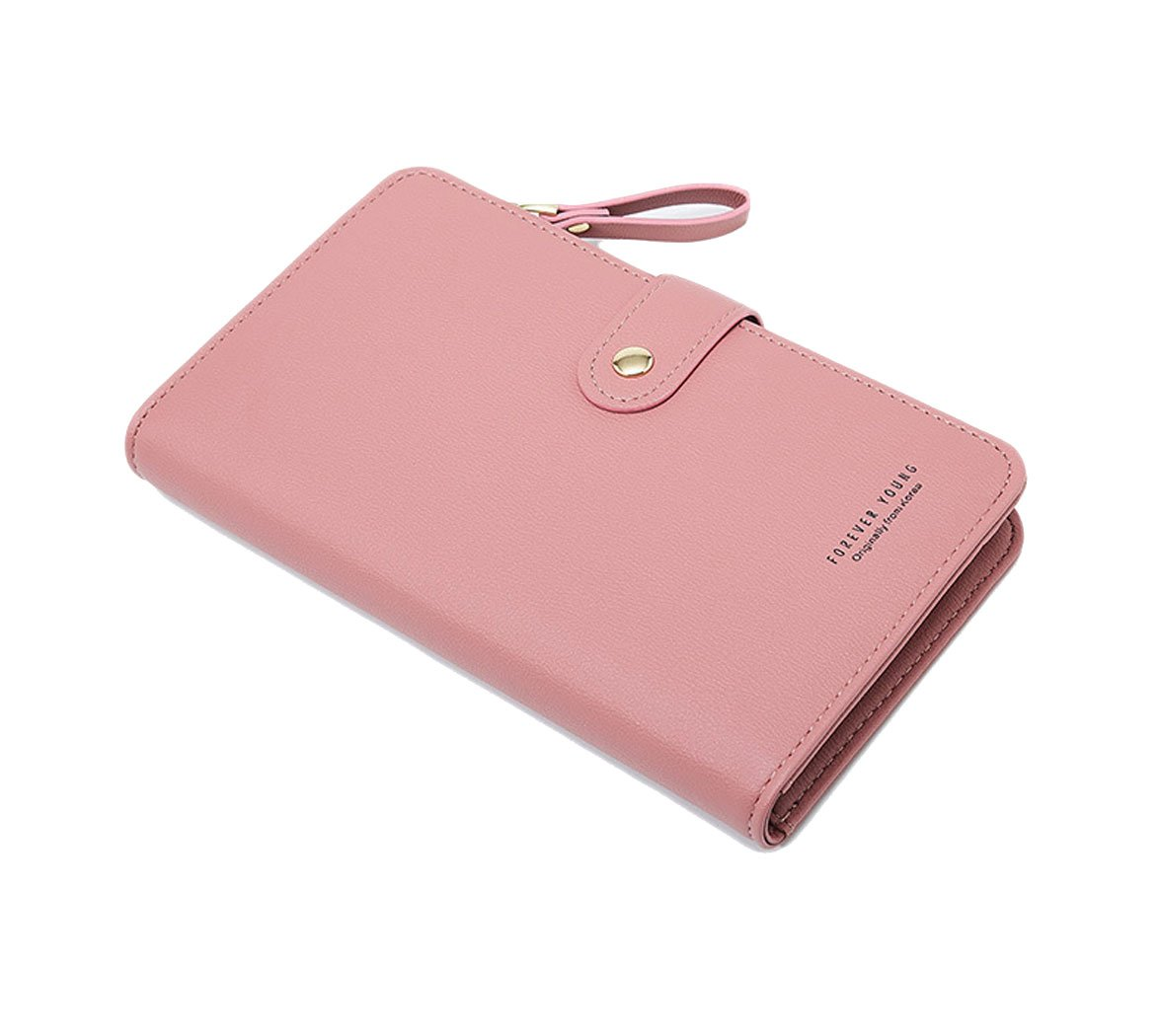 Travel Wallet Passport Holder Cellphone Pocket Leather Handbag Protective Case Roomy Credit Card Case Zipper Pocket Warmpink