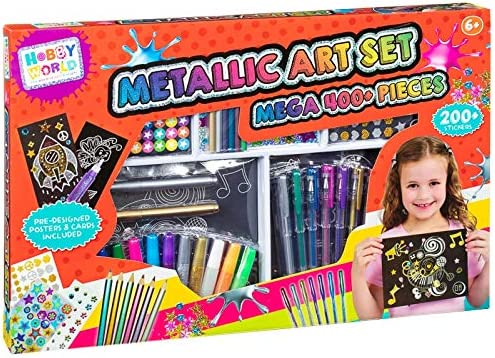 400 Piece Metallic Art Set Colouring Stickers Pens Posters Gift Craft Kit