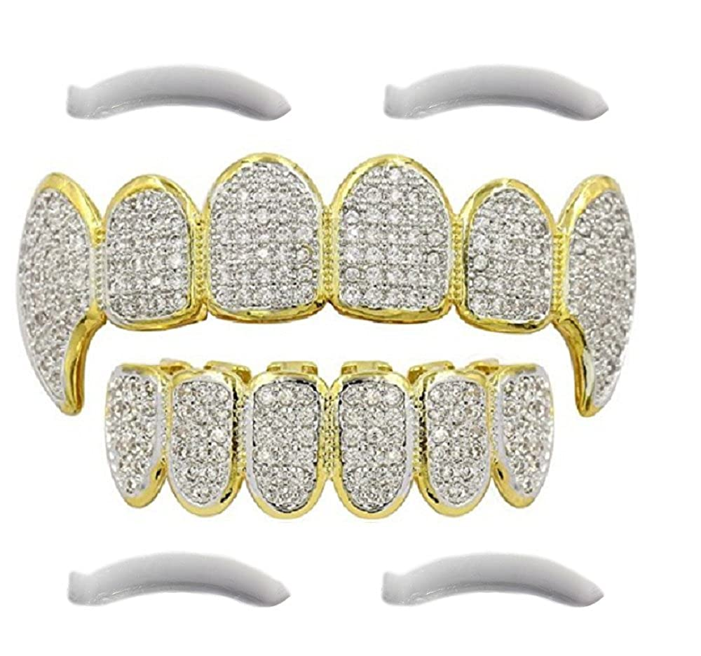 24K Gold Plated Iced Out Grillz Con Diamanti Micropave CZ + 2 barre di modifica EXTRA Top Class Jewels TC-GRI-ES