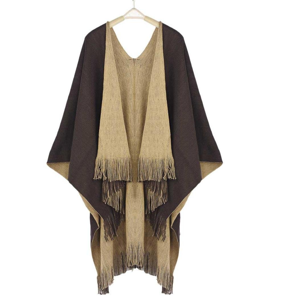 BeautyVan,Women Winter Knitted Cashmere Poncho Capes Shawl Cardigans Sweater Coat (Coffee)
