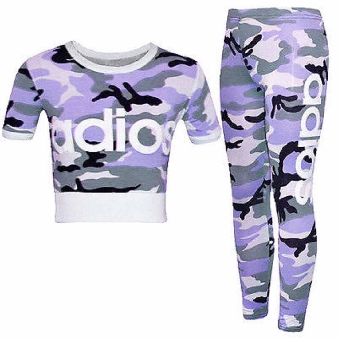 Girls Camouflage Crop Top Kids Camo Short Sleeve Tops Tee T-Shirts New 7-13 Year