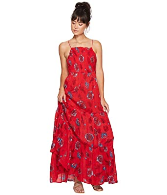 free people womens garden party maxi dress red combo x small - Garden Party Dress