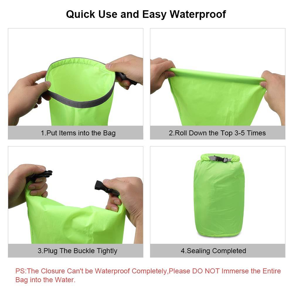 iOutdoor Products Borsa Impermeabile 2L/5L/10L/15L/20L/30L, Sacco a Compressione Dry Roll Top, Perfetto per Kayak/Canottaggio/Spiaggia/Pesca/Rafting/Nuoto/Camping/Snowboard (Green, 2L)