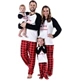 Timall Merry Christmas Sleepwear Family Matching Pajamas Sets Plaid Long  Sleeve Tops and Pants Warm Clothes 457608d3f
