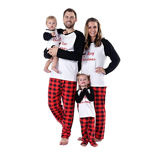 60e6e4e326 Image Unavailable. Image not available for. Color  Timall Merry Christmas  Sleepwear Family Matching Pajamas Sets Plaid ...
