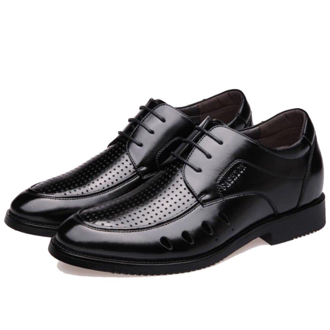 GAOLIXIA Mens Summer Hollow transpirable sandalias de cuero zapatos casuales de moda zapatillas de trabajo formal negro, marrón (Color : Negro, tamaño : 39) 39 Negro
