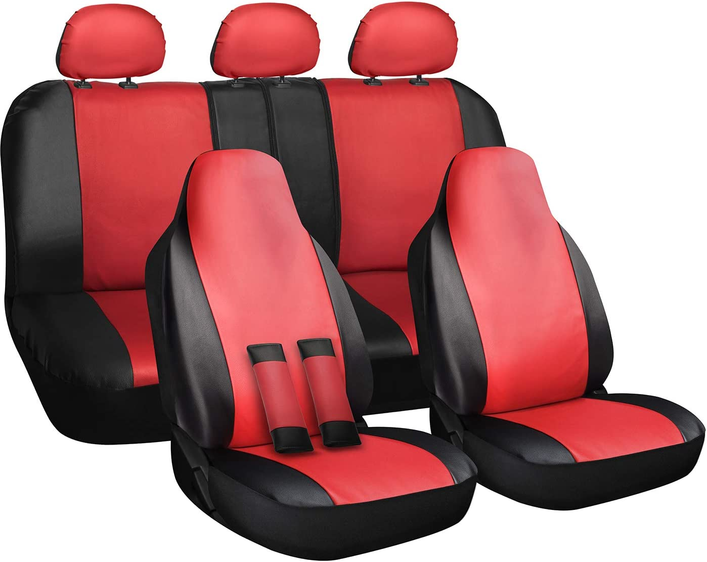 OxGord Car Seat Cover - PU Leather Two Toned Front Low Bucket 50-50 60-40 Rear Split Bench - Universal Fit Cars, Trucks, SUVs, Vans - 10 pc Complete Full Set