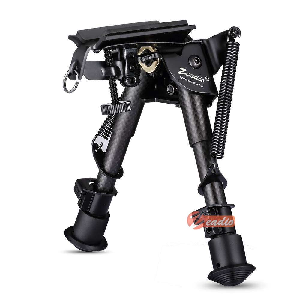 Zeadio Carbon Fiber Swivel Pivot Tiltable Bipod with Sling Mount (6''- 9'') by Zeadio