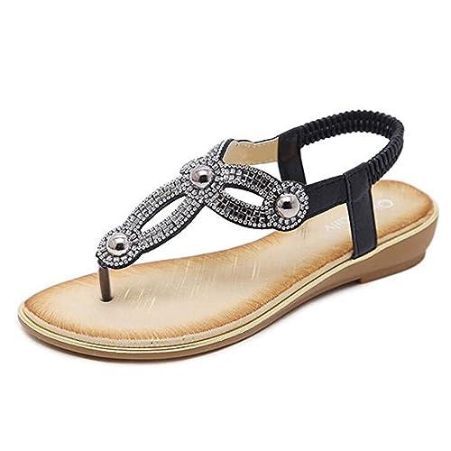 e71a206490756 UfunUshime Rhinestone Ladies Sandals for Women Summer T-Strap Thong Gold  Flat Sandals Flip Flops