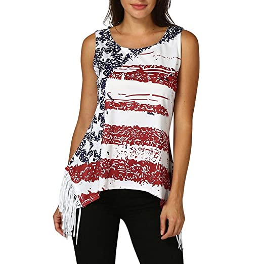 6172797d3d Misaky Women s Sleeveless US Flag Vest Tassel Blouse Tank Tops Camis  Workout Crops Tops at Amazon Women s Clothing store