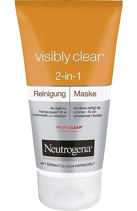 Neutrogena Visiblemente Clear 2 en 1 Lavar y máscara, 150 ml, pack de 6