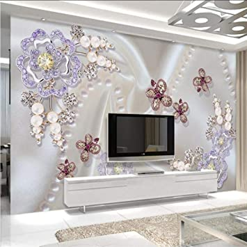 Amazon Com Xbwy European Style 3d Stereo Pearl Diamond Flower Photo Wallpaper Living Room Tv Sofa Luxury Home Decor Wall Paper For Walls Murals 120x100cm Furniture Decor