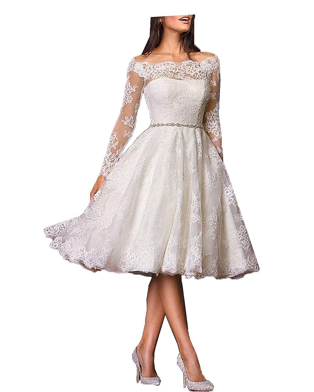 Aurora dresses Damen Spitze Hochzeitskleid Vintage Teelänge ...