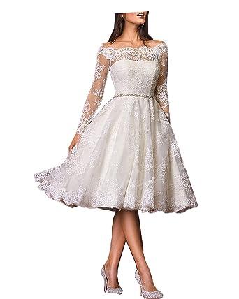 7ef39105d06a72 DreamyDesign Damen Lange Ärmel Hochzeitskleid Spitze Knielänge Brautkleider:  Amazon.de: Bekleidung
