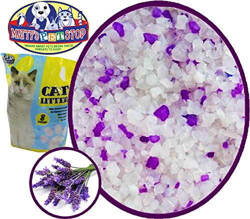 Matty's Pet Stop Crystal Silica Non Clumping Cat Litter with Lavender Scented Odor Control, 8 Pounds by Matty's Pet Stop